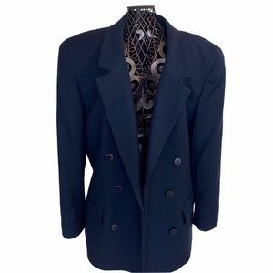 DIOR Vintage Double Breasted Blue Wool Coat | Sz 8